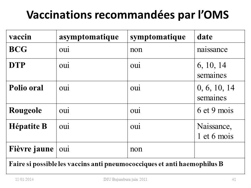 DIU Bujumbura juin 2011 Vaccinations recommandées par lOMS vaccinasymptomatiquesymptomatiquedate BCGouinonnaissance DTPoui 6, 10, 14 semaines Polio or