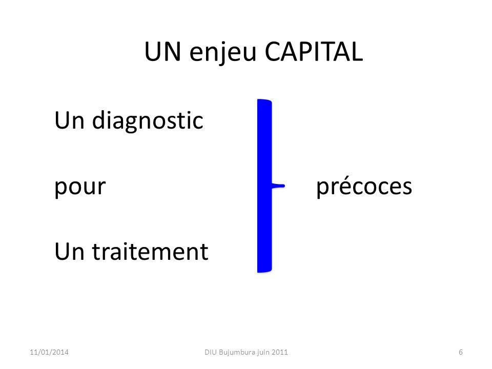 611/01/2014 UN enjeu CAPITAL Un diagnostic pour précoces Un traitement