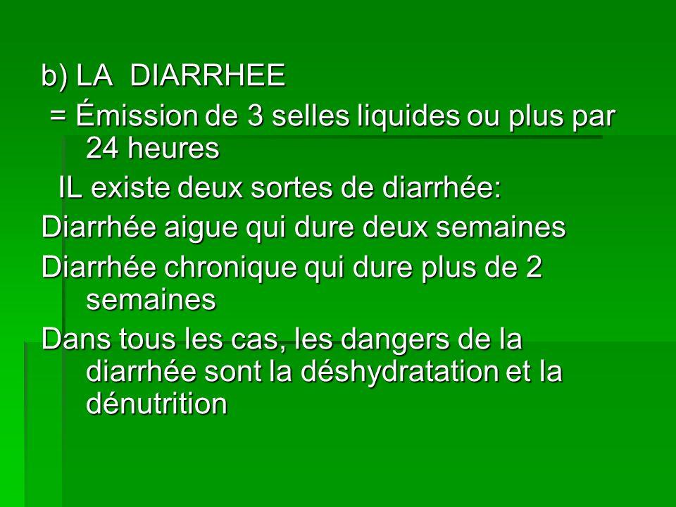 b) LA DIARRHEE = Émission de 3 selles liquides ou plus par 24 heures = Émission de 3 selles liquides ou plus par 24 heures IL existe deux sortes de di