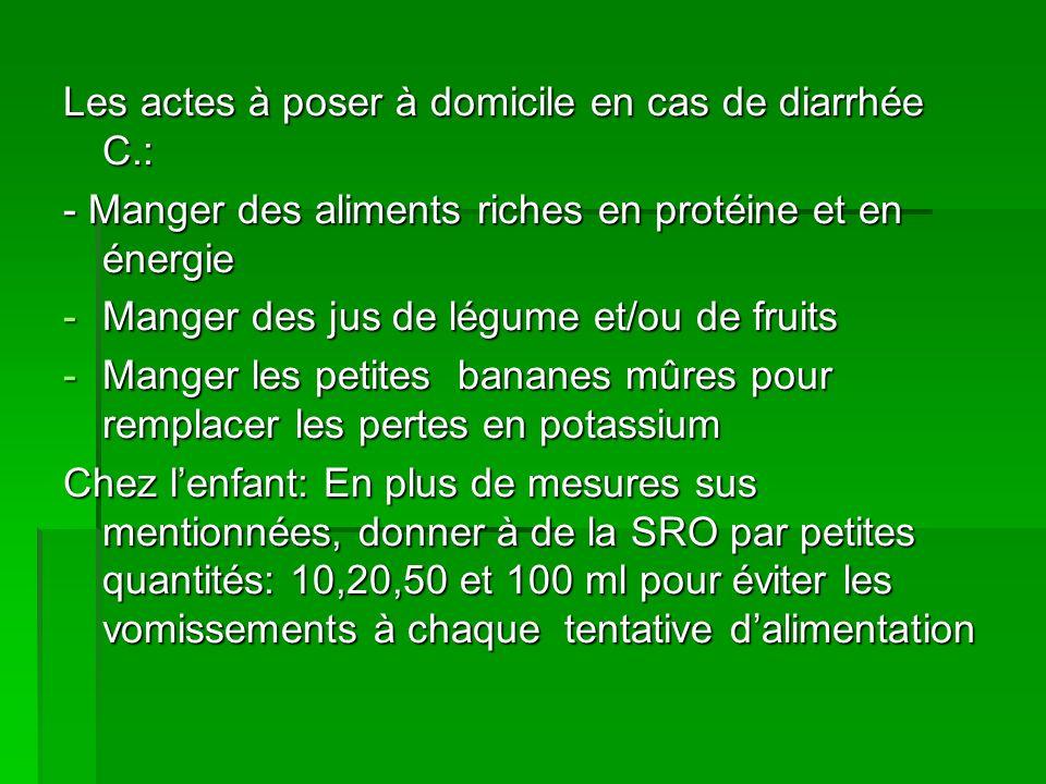 Les actes à poser à domicile en cas de diarrhée C.: - Manger des aliments riches en protéine et en énergie -Manger des jus de légume et/ou de fruits -