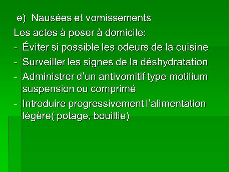 e) Nausées et vomissements e) Nausées et vomissements Les actes à poser à domicile: -Éviter si possible les odeurs de la cuisine -Surveiller les signe