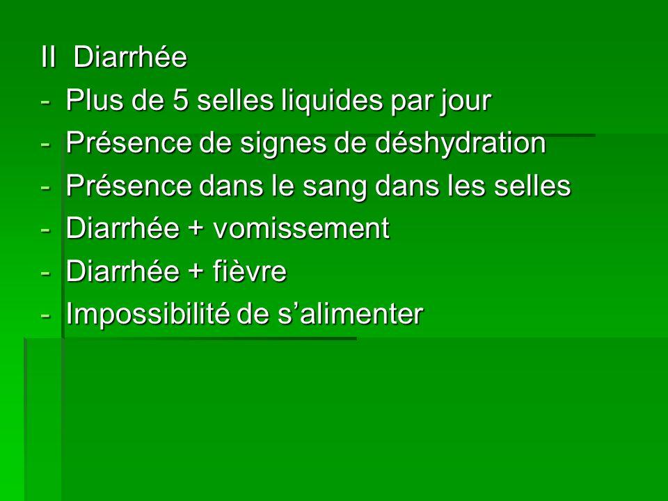 II Diarrhée -Plus de 5 selles liquides par jour -Présence de signes de déshydration -Présence dans le sang dans les selles -Diarrhée + vomissement -Di