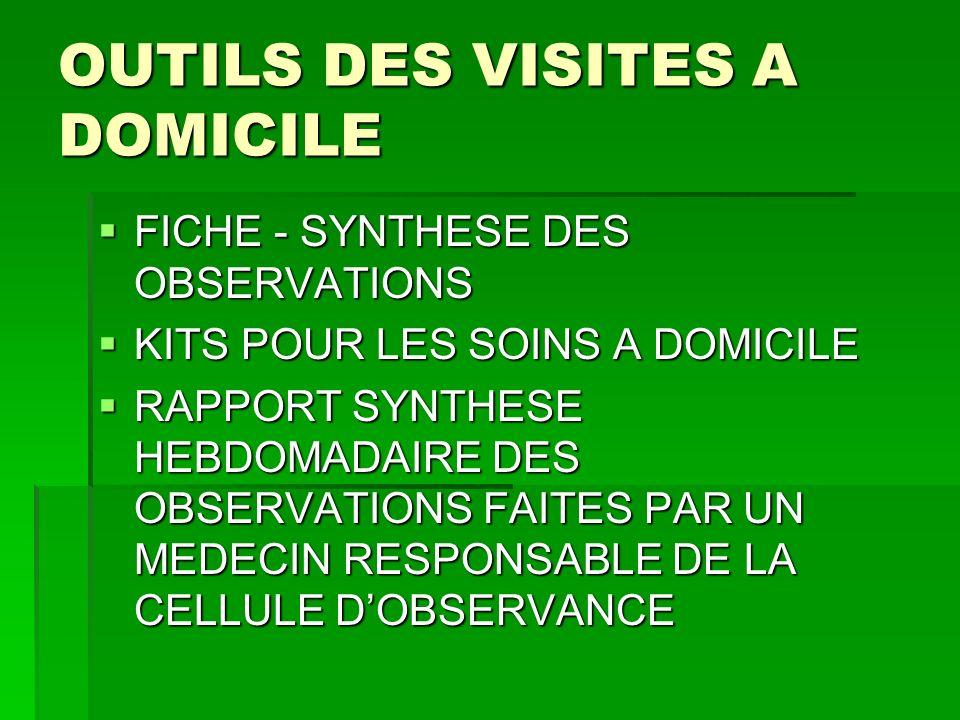 OUTILS DES VISITES A DOMICILE FICHE - SYNTHESE DES OBSERVATIONS FICHE - SYNTHESE DES OBSERVATIONS KITS POUR LES SOINS A DOMICILE KITS POUR LES SOINS A