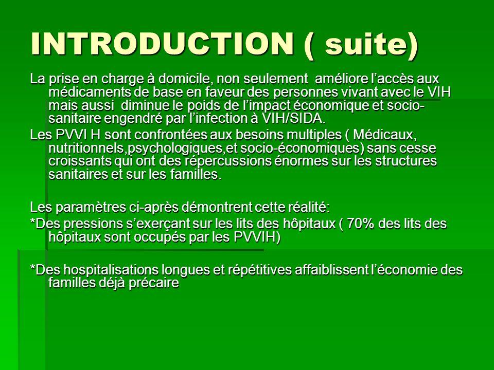 INTRODUCTION ( suite) La prise en charge à domicile, non seulement améliore laccès aux médicaments de base en faveur des personnes vivant avec le VIH