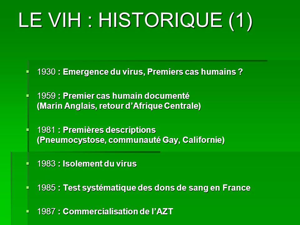 LE VIH : HISTORIQUE (1) 1930 : Emergence du virus, Premiers cas humains ? 1930 : Emergence du virus, Premiers cas humains ? 1959 : Premier cas humain