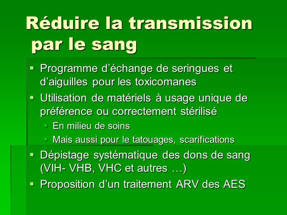 Réduire la transmission par le sang Programme déchange de seringues et daiguilles pour les toxicomanes Programme déchange de seringues et daiguilles p