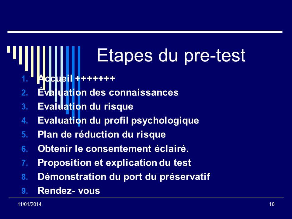 Etapes du pre-test 1. Accueil +++++++ 2. Évaluation des connaissances 3. Evaluation du risque 4. Evaluation du profil psychologique 5. Plan de réducti