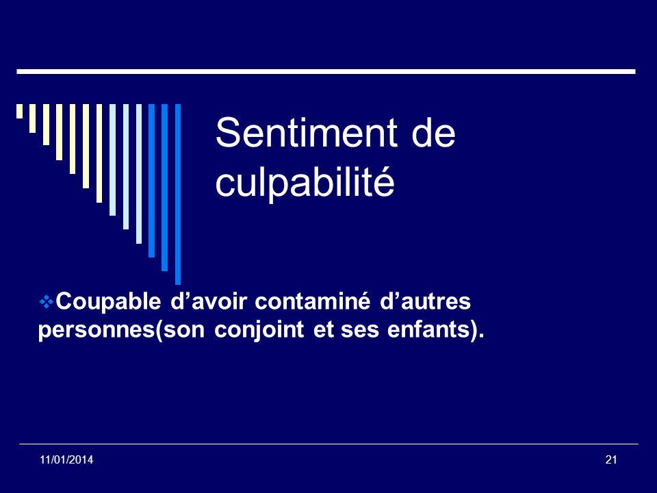 Sentiment de culpabilité Coupable davoir contaminé dautres personnes(son conjoint et ses enfants). 11/01/201421