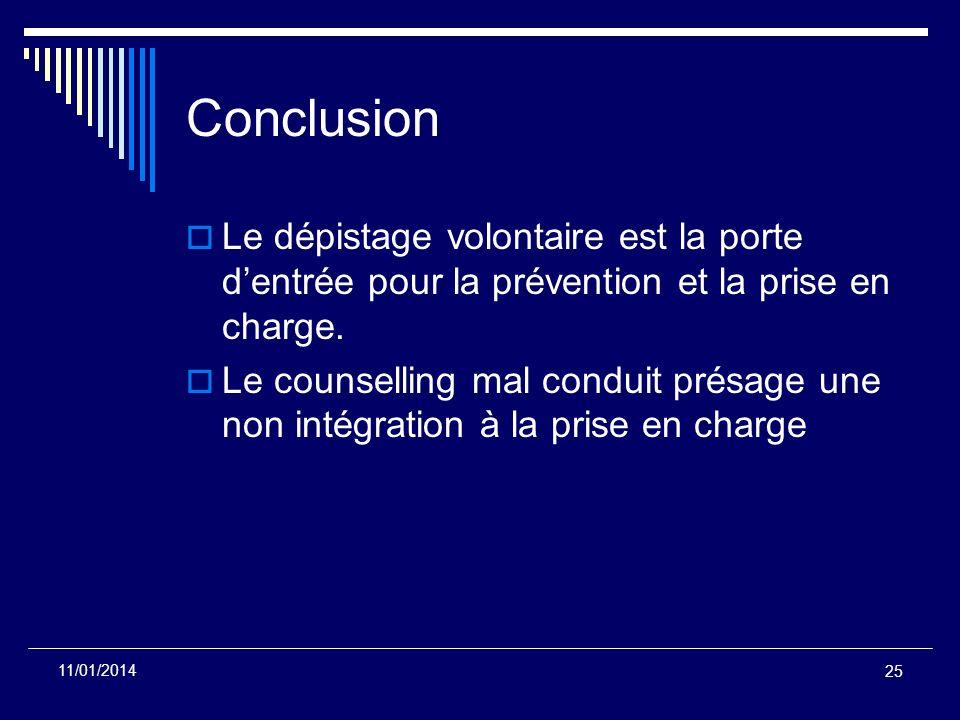 25 11/01/2014 Conclusion Le dépistage volontaire est la porte dentrée pour la prévention et la prise en charge. Le counselling mal conduit présage une