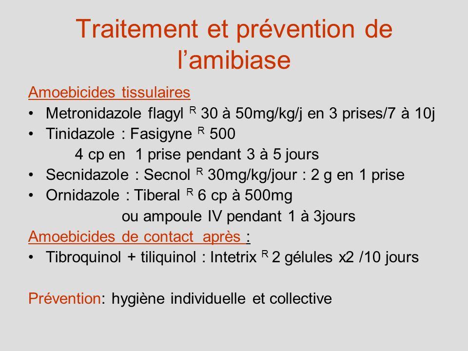 Traitement et prévention de lamibiase Amoebicides tissulaires Metronidazole flagyl R 30 à 50mg/kg/j en 3 prises/7 à 10j Tinidazole : Fasigyne R 500 4
