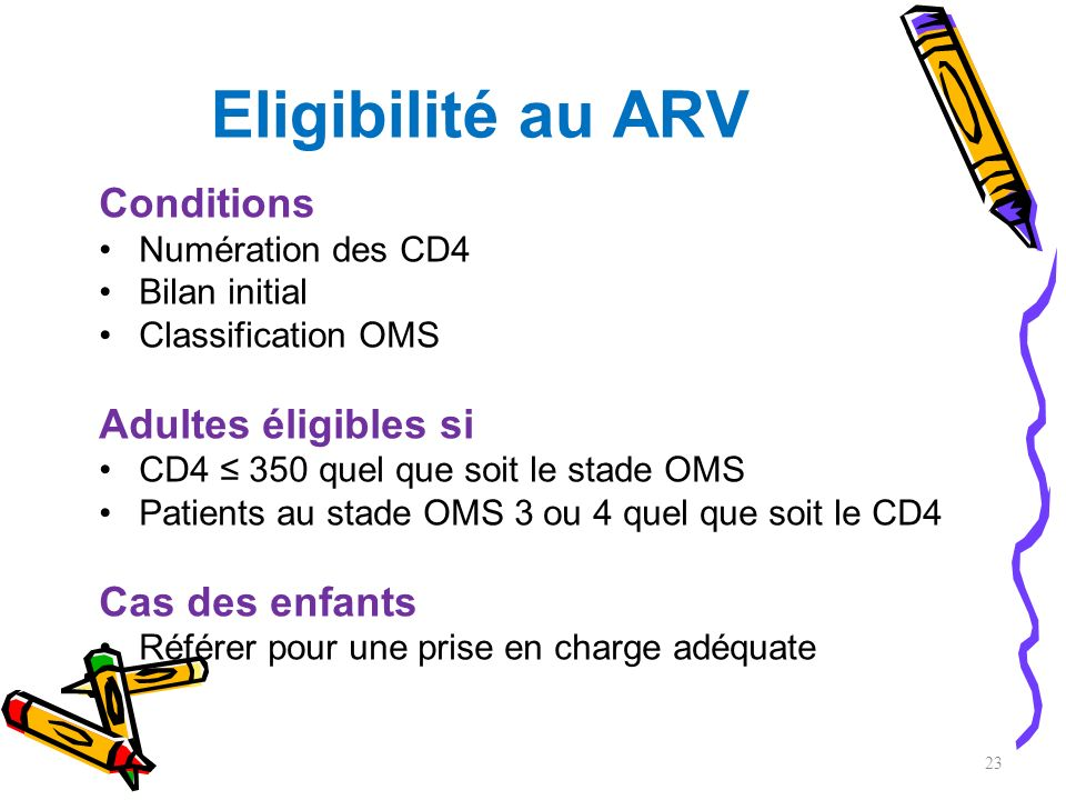 Eligibilité au ARV Conditions Numération des CD4 Bilan initial Classification OMS Adultes éligibles si CD4 350 quel que soit le stade OMS Patients au