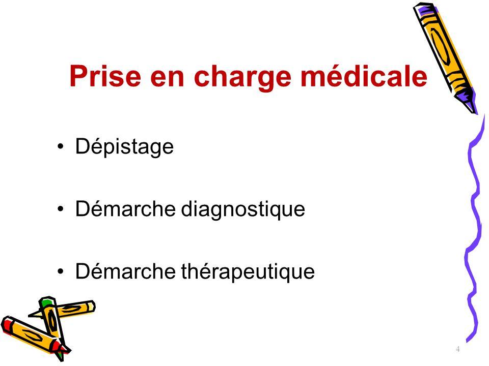 Prise en charge médicale Dépistage Démarche diagnostique Démarche thérapeutique 4