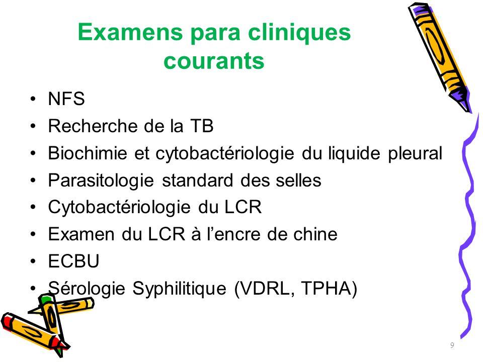 Examens para cliniques courants NFS Recherche de la TB Biochimie et cytobactériologie du liquide pleural Parasitologie standard des selles Cytobactéri