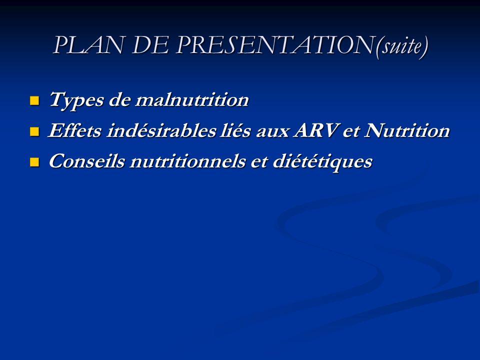 PLAN DE PRESENTATION(suite) Types de malnutrition Types de malnutrition Effets indésirables liés aux ARV et Nutrition Effets indésirables liés aux ARV
