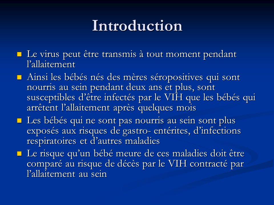 Introduction Le virus peut être transmis à tout moment pendant lallaitement Le virus peut être transmis à tout moment pendant lallaitement Ainsi les b