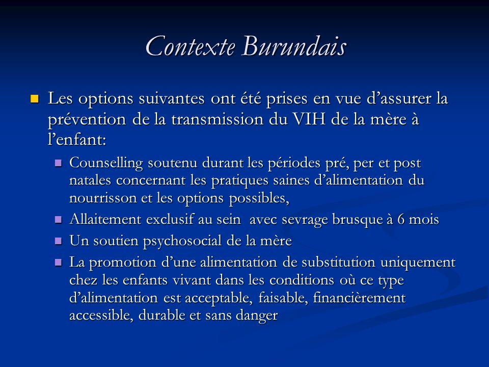 Contexte Burundais Les options suivantes ont été prises en vue dassurer la prévention de la transmission du VIH de la mère à lenfant: Les options suiv