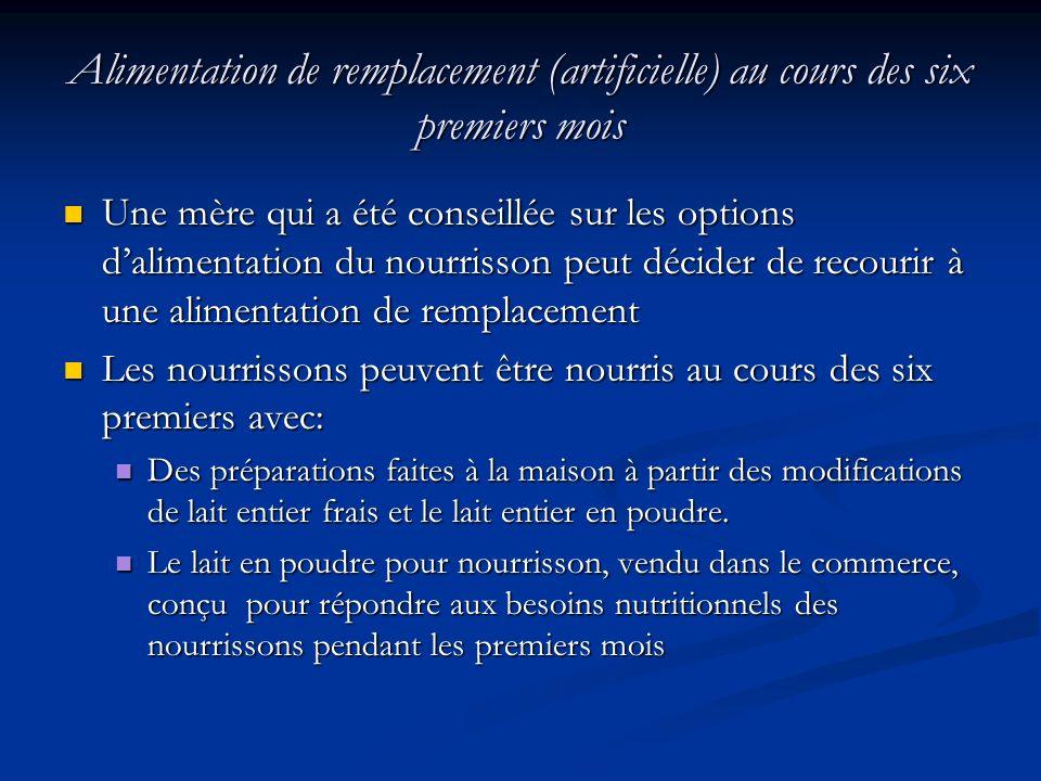 Alimentation de remplacement (artificielle) au cours des six premiers mois Une mère qui a été conseillée sur les options dalimentation du nourrisson p