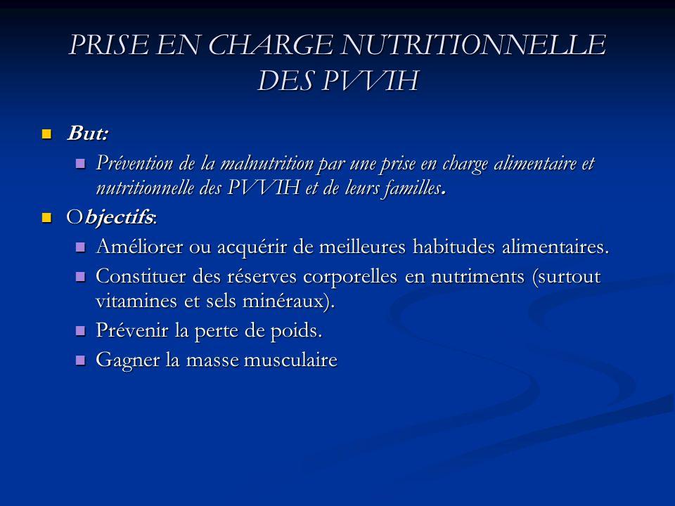 Objectifs ( suite) Prévenir les maladies transmissibles par les aliments Prévenir les maladies transmissibles par les aliments Prendre en charge les symptômes se rapportant au SIDA qui affectent la consommation alimentaire.