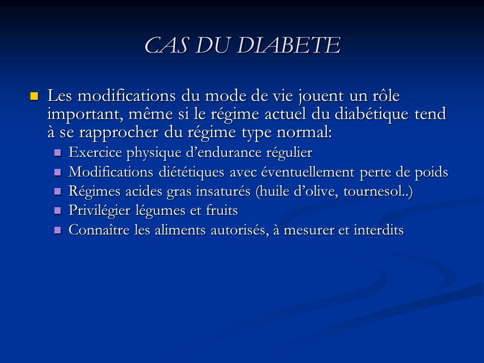 CAS DU DIABETE Les modifications du mode de vie jouent un rôle important, même si le régime actuel du diabétique tend à se rapprocher du régime type n