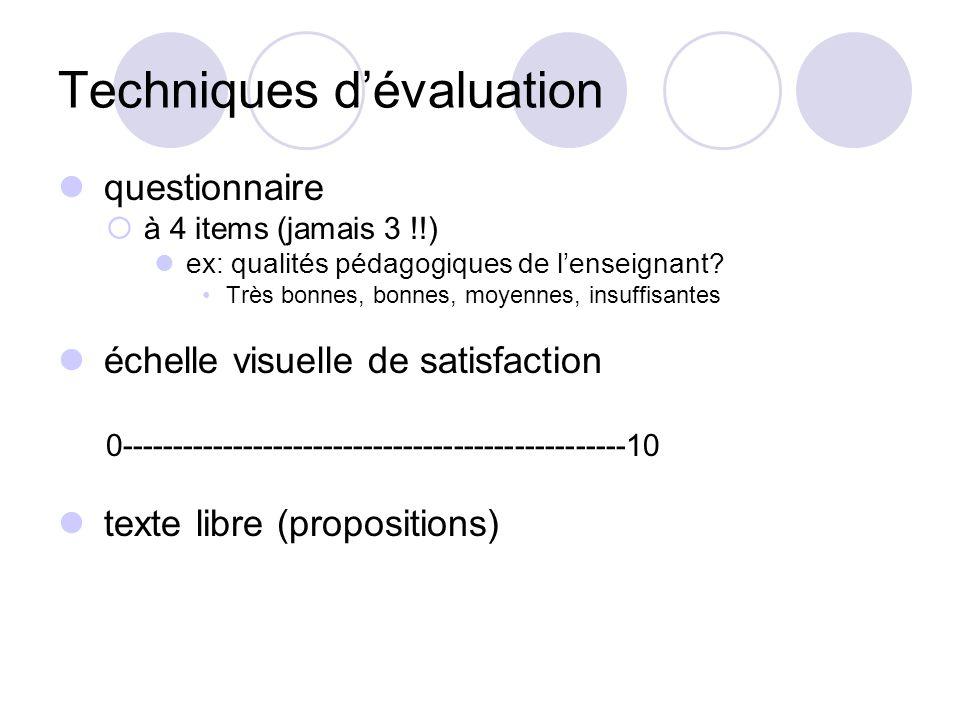 Évaluation de la formation Générale adéquation objectifs initiaux / besoins des enseignés adéquation objectifs /techniques pédagogiques conditions log
