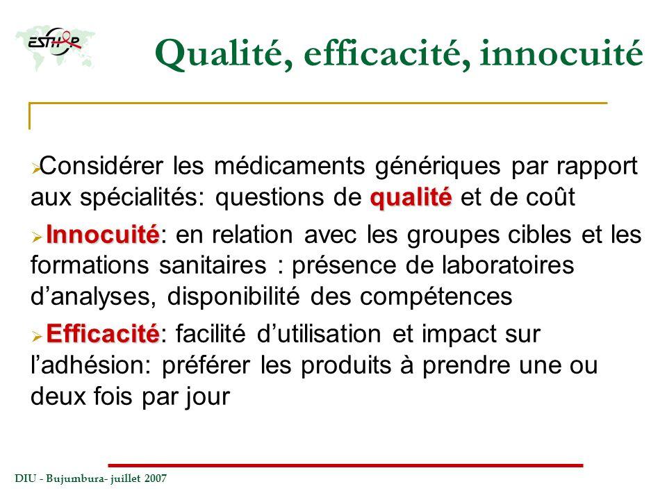 DIU - Bujumbura- juillet 2007 Qualité, efficacité, innocuité qualité Considérer les médicaments génériques par rapport aux spécialités: questions de q