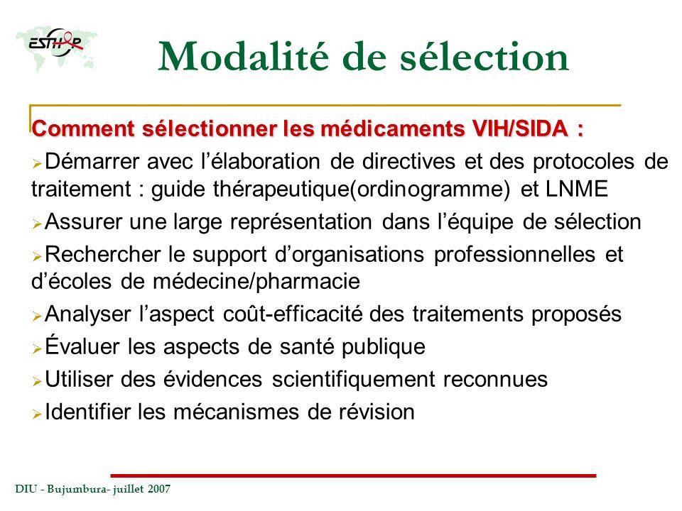 DIU - Bujumbura- juillet 2007 Modalité de sélection Comment sélectionner les médicaments VIH/SIDA : Démarrer avec lélaboration de directives et des pr