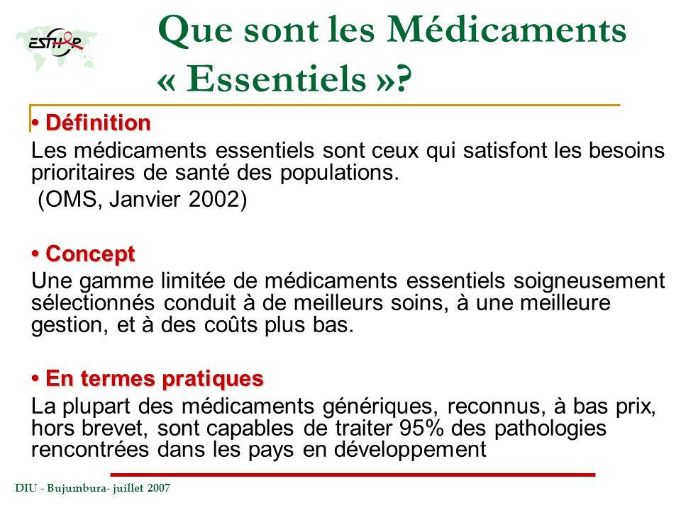 DIU - Bujumbura- juillet 2007 Que sont les Médicaments « Essentiels »? Définition Définition Les médicaments essentiels sont ceux qui satisfont les be