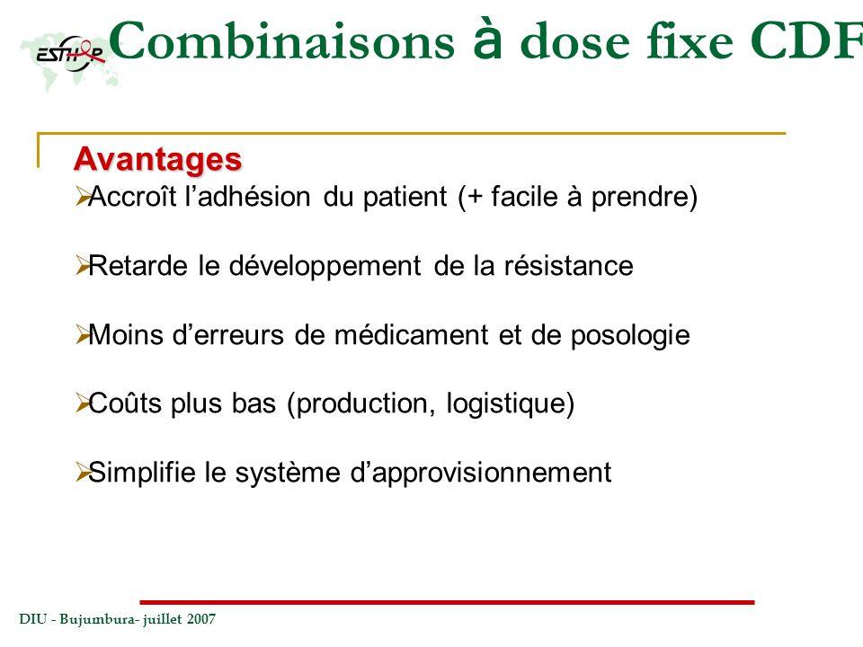 DIU - Bujumbura- juillet 2007 Combinaisons à dose fixe CDFAvantages Accroît ladhésion du patient (+ facile à prendre) Retarde le développement de la r
