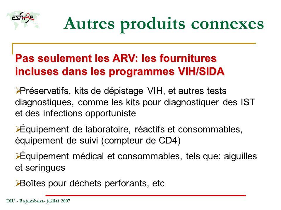 DIU - Bujumbura- juillet 2007 Autres produits connexes Pas seulement les ARV: les fournitures incluses dans les programmes VIH/SIDA Préservatifs, kits