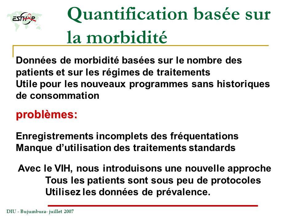 DIU - Bujumbura- juillet 2007 Quantification basée sur la morbidité Données de morbidité basées sur le nombre des patients et sur les régimes de trait