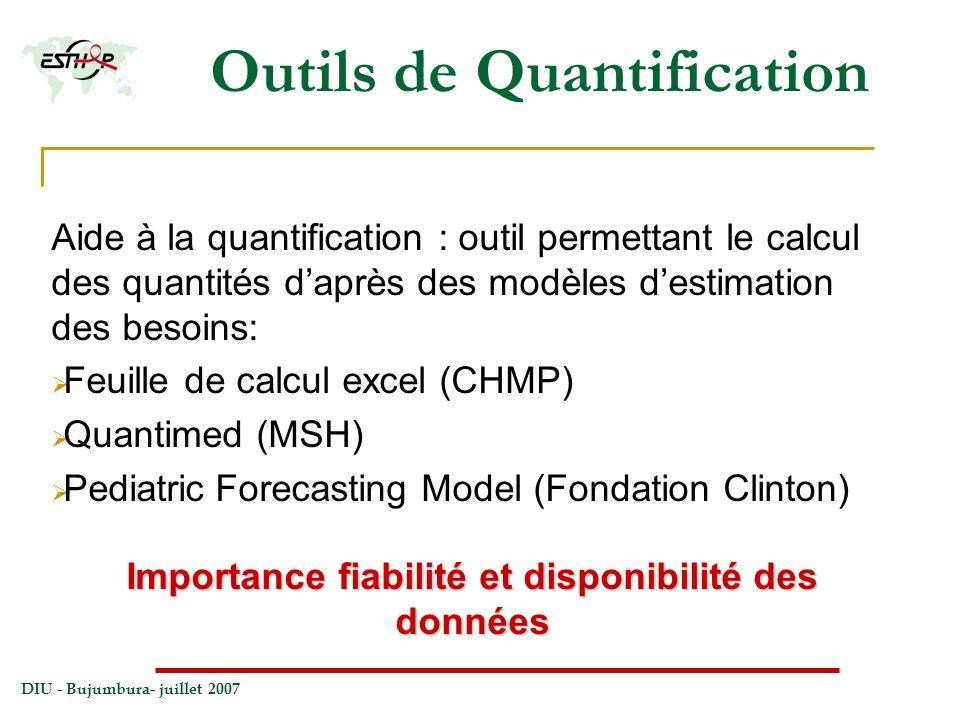 DIU - Bujumbura- juillet 2007 Outils de Quantification Aide à la quantification : outil permettant le calcul des quantités daprès des modèles destimat