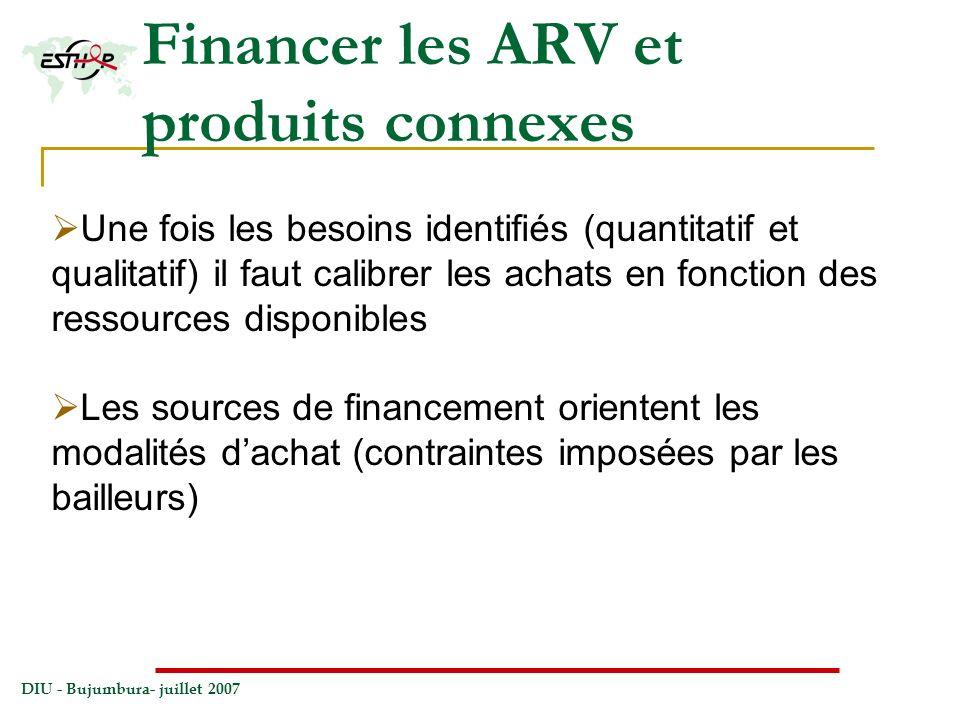 DIU - Bujumbura- juillet 2007 Financer les ARV et produits connexes Une fois les besoins identifiés (quantitatif et qualitatif) il faut calibrer les a