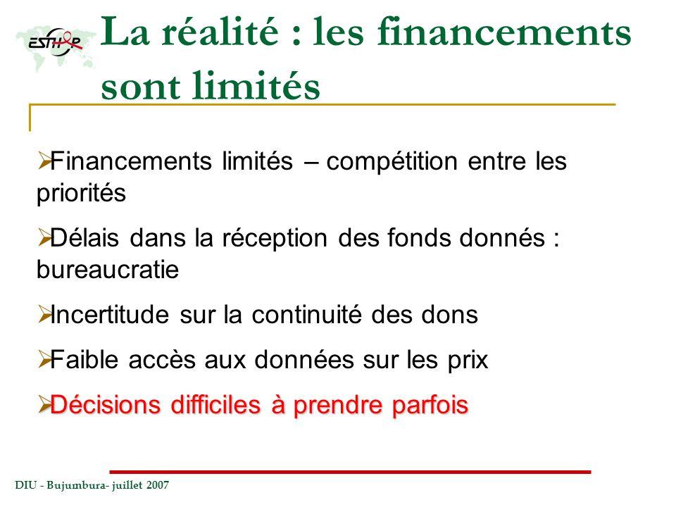 DIU - Bujumbura- juillet 2007 La réalité : les financements sont limités Financements limités – compétition entre les priorités Délais dans la récepti