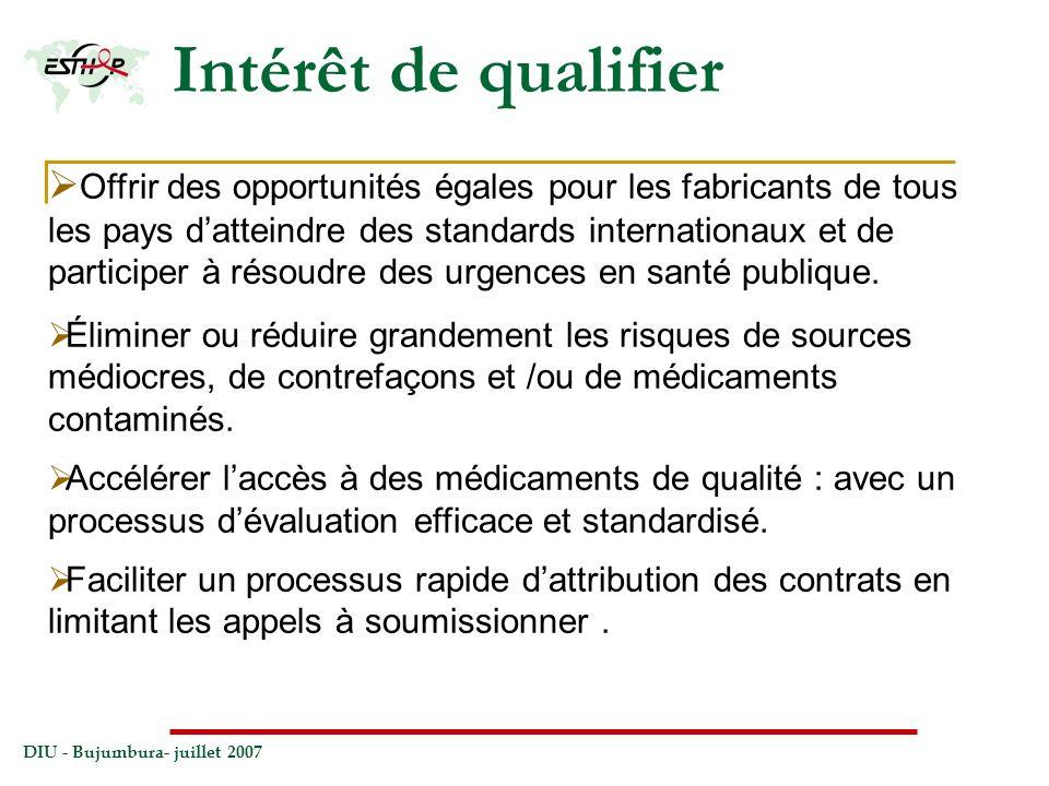 DIU - Bujumbura- juillet 2007 Intérêt de qualifier Offrir des opportunités égales pour les fabricants de tous les pays datteindre des standards intern