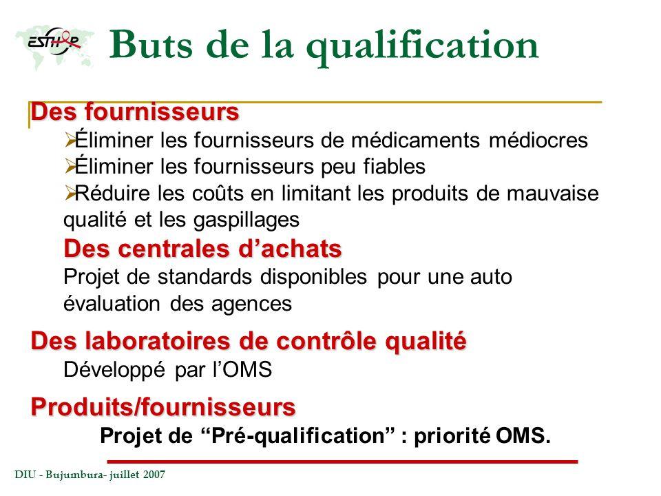 DIU - Bujumbura- juillet 2007 Buts de la qualification Des fournisseurs Éliminer les fournisseurs de médicaments médiocres Éliminer les fournisseurs p