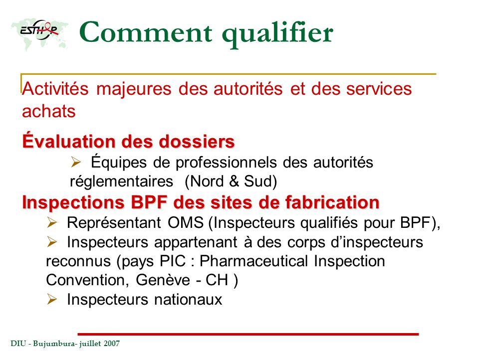DIU - Bujumbura- juillet 2007 Comment qualifier Activités majeures des autorités et des services achats Évaluation des dossiers Équipes de professionn