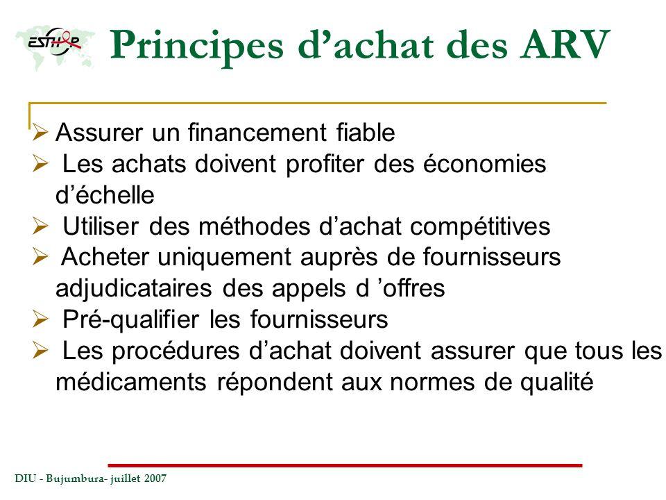 DIU - Bujumbura- juillet 2007 Principes dachat des ARV Assurer un financement fiable Les achats doivent profiter des économies déchelle Utiliser des m