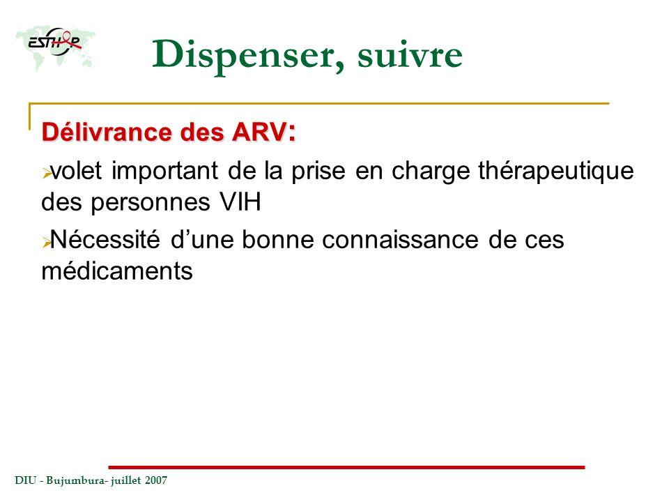 DIU - Bujumbura- juillet 2007 Dispenser, suivre Délivrance des ARV : volet important de la prise en charge thérapeutique des personnes VIH Nécessité d
