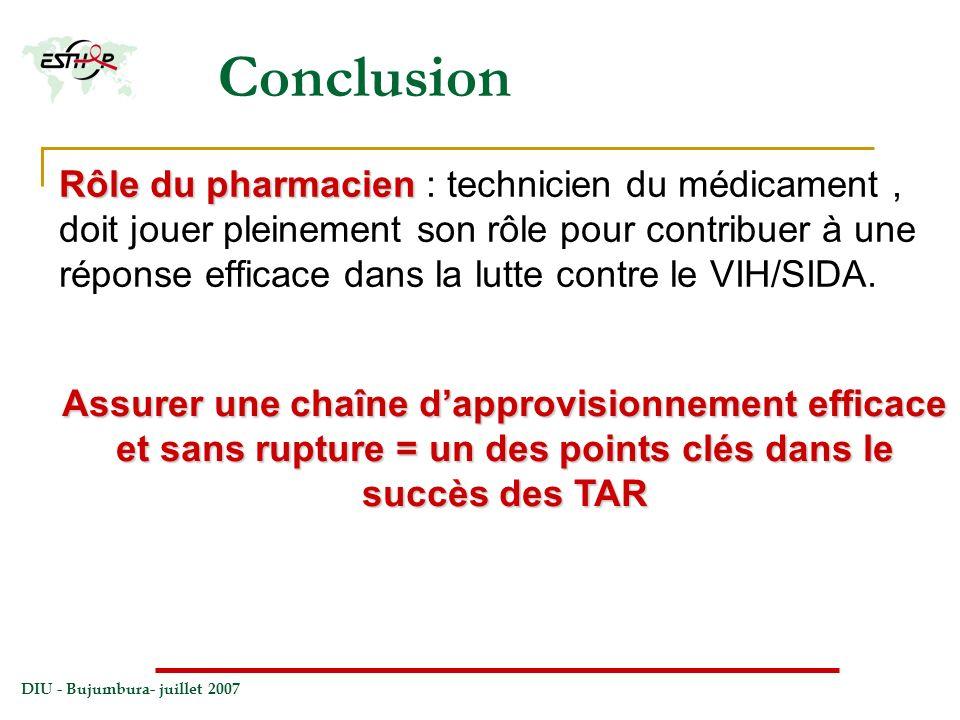 DIU - Bujumbura- juillet 2007 Conclusion Rôle du pharmacien Rôle du pharmacien : technicien du médicament, doit jouer pleinement son rôle pour contrib