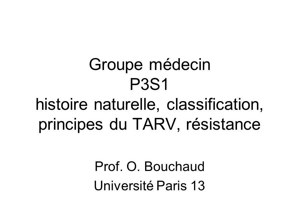 Groupe médecin P3S1 histoire naturelle, classification, principes du TARV, résistance Prof. O. Bouchaud Université Paris 13