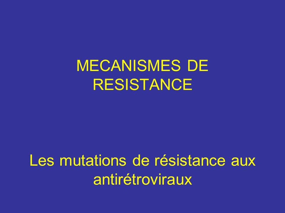 MECANISMES DE RESISTANCE Les mutations de résistance aux antirétroviraux
