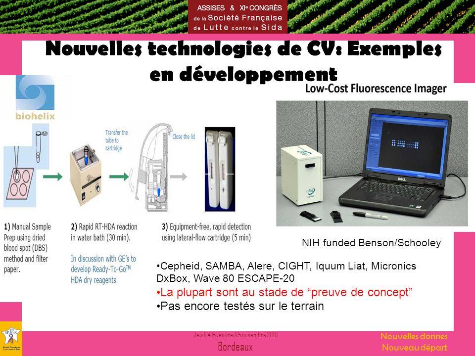 Jeudi 4 & vendredi 5 novembre 2010 Bordeaux Nouvelles donnes Nouveau départ Nouvelles technologies de CV: Exemples en développement NIH funded Benson/