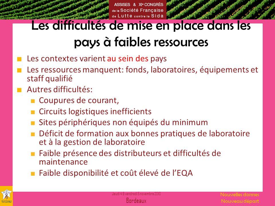 Jeudi 4 & vendredi 5 novembre 2010 Bordeaux Nouvelles donnes Nouveau départ Les difficultés de mise en place dans les pays à faibles ressources Les co