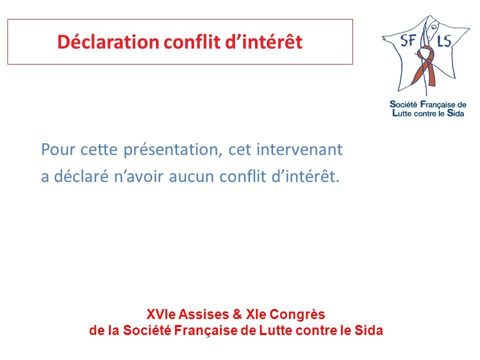 XVIe Assises & XIe Congrès de la Société Française de Lutte contre le Sida Pour cette présentation, cet intervenant a déclaré navoir aucun conflit din