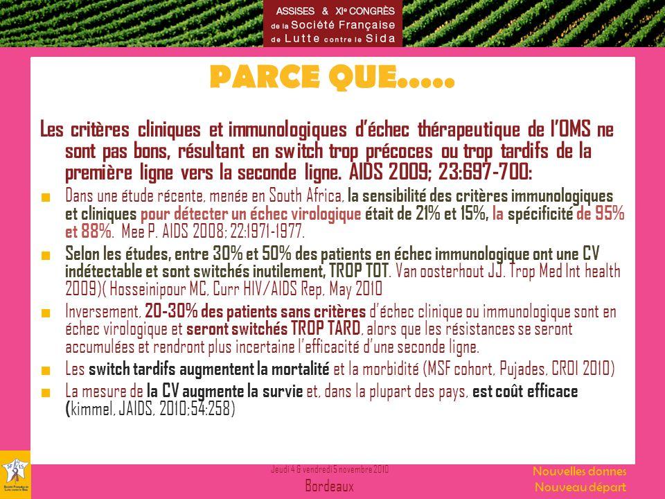 Jeudi 4 & vendredi 5 novembre 2010 Bordeaux Nouvelles donnes Nouveau départ PARCE QUE..... Les critères cliniques et immunologiques déchec thérapeutiq