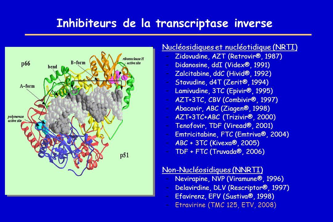 Inhibiteurs de protéase –Saquinavir-HGC, SQV-HGC (Invirase®, 1995) –Ritonavir, RTV (Norvir®, 1996) –Indinavir, IDV (Crixivan®, 1996) –Nelfinavir, NFV (Viracept®, 1997) –Saquinavir-SGC, SQV-SGC (Fortovase®, 1997) –Amprenavir, APV (Agenerase®, 1999) –Lopinavir/r, LPV/r (Kaletra®, 2000) –Atazanavir, ATV (Reyataz®, 2004) –Fosamprénavir, fosAPV (Telzir®, 2004) –Tipranavir, TPV (Haptivus®, 2005) –Darunavir, DRV (Prezista®, 2007)