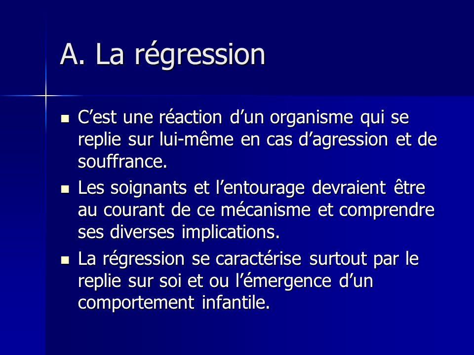 2.LES CONSEQUENCES PSYCHIQUES POUR LE MALADE Nous retenons deux grandes conséquences : la régression et la dépression