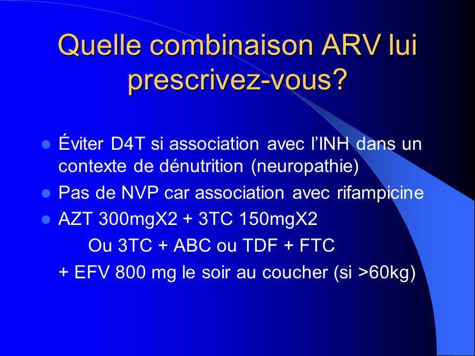 Quelle combinaison ARV lui prescrivez-vous.