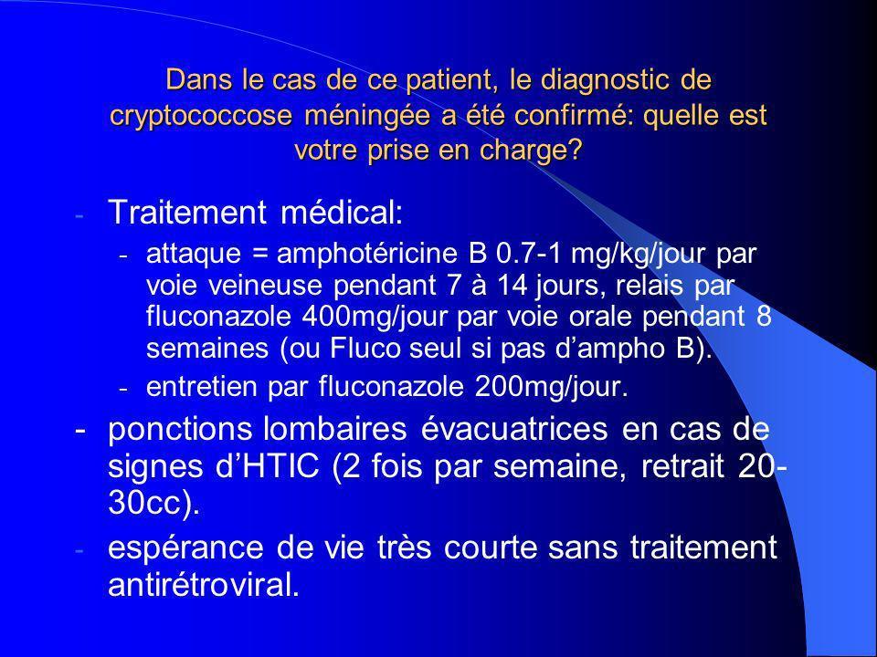 Dans le cas de ce patient, le diagnostic de cryptococcose méningée a été confirmé: quelle est votre prise en charge.