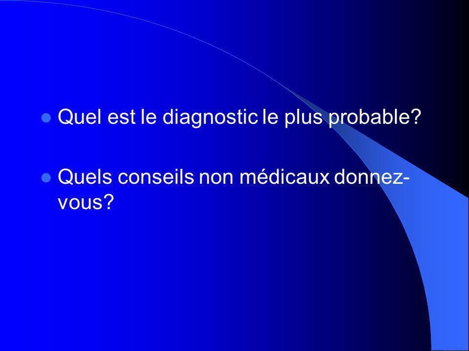 Quel est le diagnostic le plus probable? Quels conseils non médicaux donnez- vous?